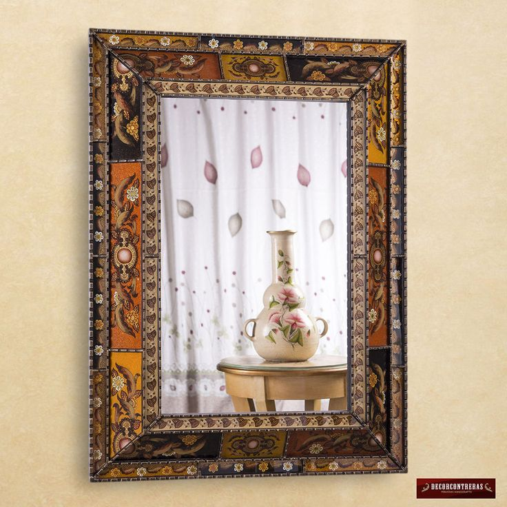 Extra Large Wall mirror Decorative - Arts Crafts Mirrors - Peru Painted Glass #Handmade #Traditional