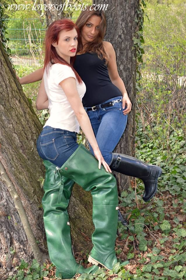Green Rubber Waders And Black Rubber Boots Boots En