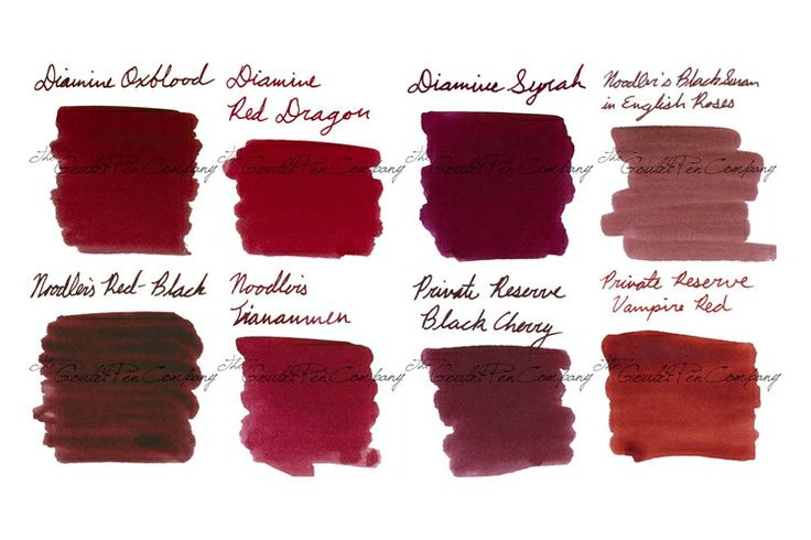 Fountain Pen Ink Samples Dark Reds. Diamine's Oxblood and Red Dragon look marvelous.