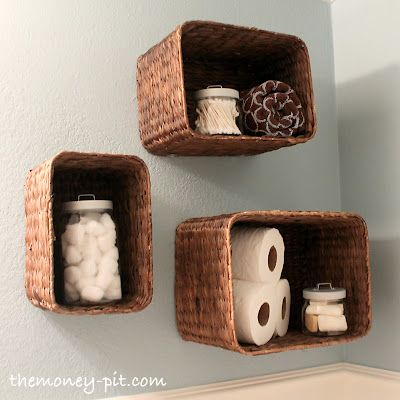 Turning Baskets into Shelves: Projects, Basket Shelves, Craft, Turning Baskets, Wall Basket, Bathroom Ideas, Storage