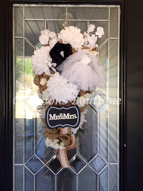 Burlap Wedding Wreath Bridal Shower by OccasionsBoutique on Etsy