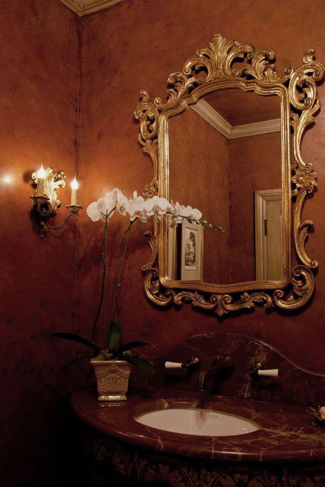 Luxurious powder room with 18th century style venetian for Bathroom mirrors san antonio