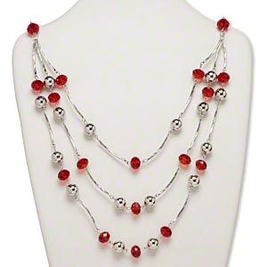 Necklace, glass and imitation rhodium-finished aluminum and steel, red, 18x18mm faceted rondelle, 23-inches with 2-inch extender chain and lobster claw clasp. Sold individually.