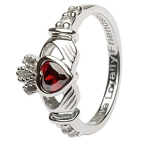 cool JANUARY Birth Month Silver Claddagh Ring LS-SL90-1. Made in Ireland.