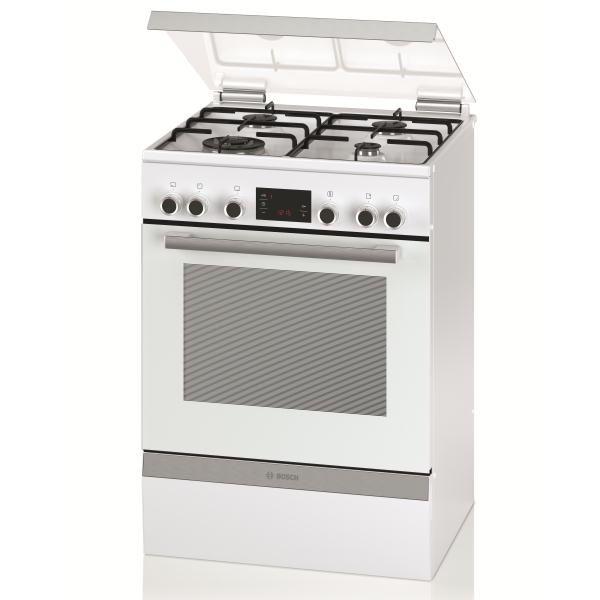 Cuisinière mixte 60cm Four multifonction catalyse 66l / 4 foyers gaz Blanc - BOSCH Réf. HGD74W320F