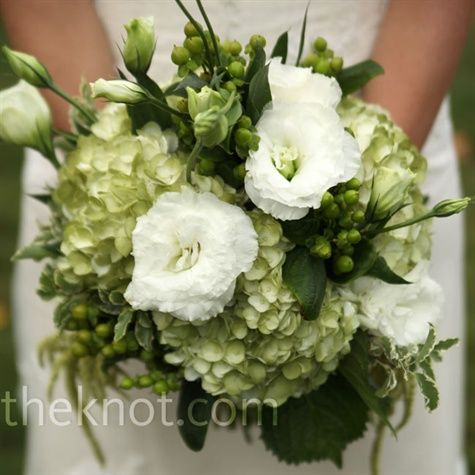 soft white accents in green hydrangea and berry bouquet: Green Bouquet, Wedding Ideas, Wedding Bouquets, Wedding Flowers, White, Bridesmaid Bouquets, Green Flowers