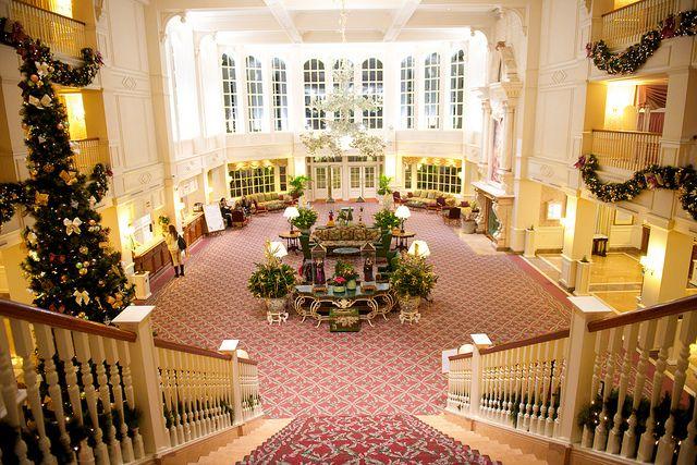 The Lobby of the Disneyland hotel Paris with Christmas Xmas decorations, 2013 #DLP #DLRP #Disney
