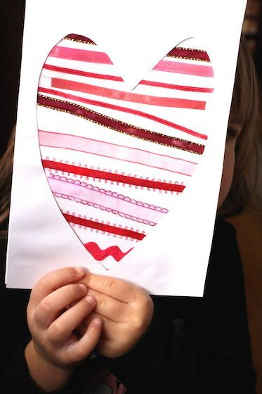 Ribbon Scrap Valentine's card.  A cute and easy Valentine's craft for toddlers and preschoolers - Happy Hooligans