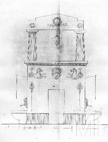 Landau Lénárt, Kútterv a Ferenciek téri kúthoz, 1828, Budapest Főváros Levéltára, Budapest MI - Fotótár