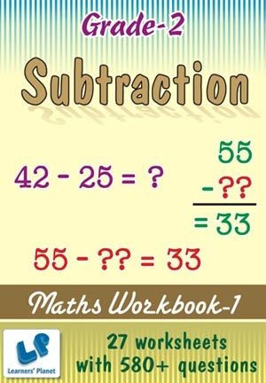 GRADE-2-MATH-SUBTRACTION-WORKBOOK-1 This workbook contains printable worksheets on Subtraction for Grade 2 students.  There are total 27 worksheets with 580+ questions.  Pattern of questions : Horizontal Subtraction with picture, Subjective Questions.    PRICE :- RS.149.00