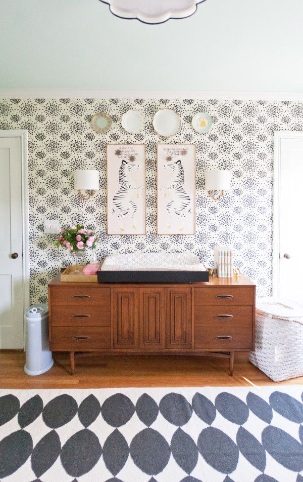 Hadley's Fireworks Wallpaper+Mid-century credenza+zebra panels with Psalm 28:7 written on them // nursery for baby girl