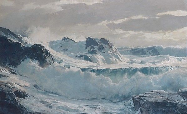 Wild Weather. Artist: Frederick J. Waugh (American, Bordentown, New Jersey 1861–1940 Provincetown, Massachusetts) Date: ca. 1930 Medium: Oil on masonite Dimensions: 29 7/8 x 48 1/8 in. (75.9 x 122.2 cm)