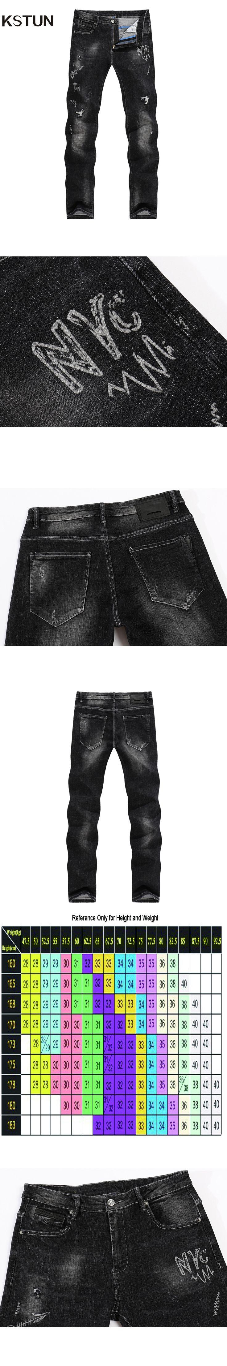 KSTUN Jeans Men Winter Black Ripped Torn Pants High Quality Stretch Printed Letters Biker Moto Jeans Hip hop Trousers Slim Leg