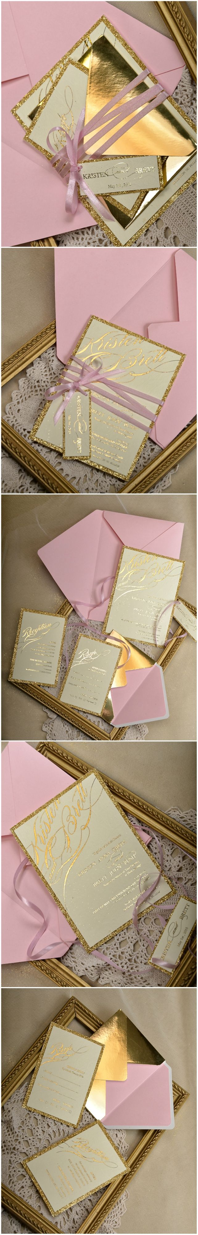 Pink & Gold Glitter Wedding Invitations #weddingideas #gold #pink #glitter #weddinginvitations #elegant #shiny #goldfoil