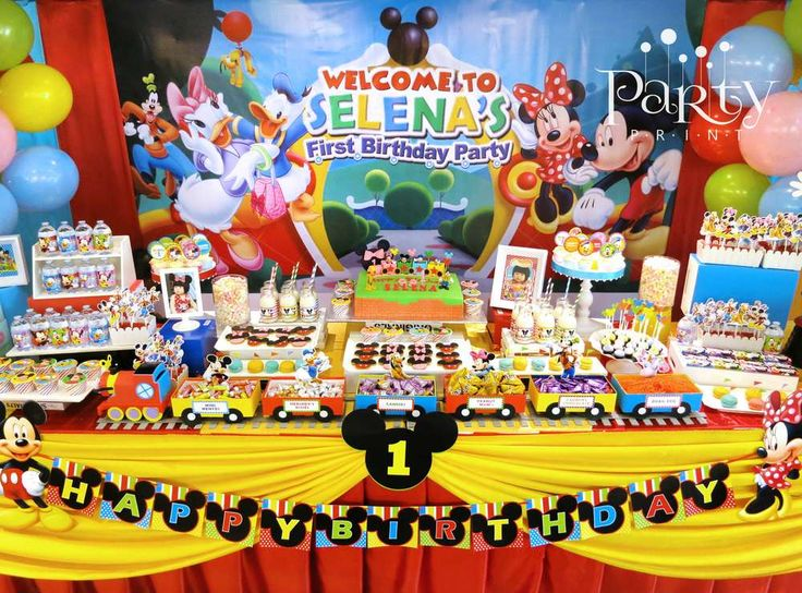 Incredible dessert table at a Mickey Mouse Clubhouse birthday party! See more party ideas at CatchMyParty.com!