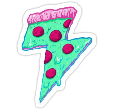 Thunder neon pizza sticker by exeivier