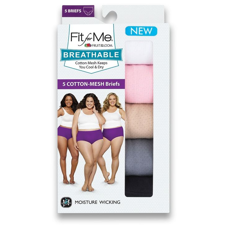 Fit for Me by Fruit of the Loom Women's Breathable Cotton Briefs 5-Pack - Multi-Colored 10, Multicolored