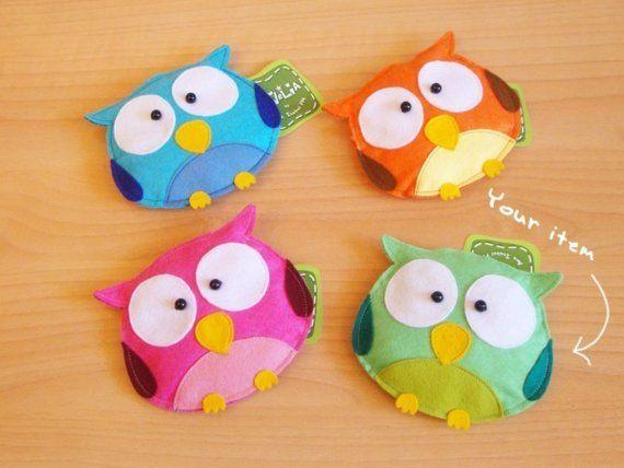 Owl coin purses made from felt