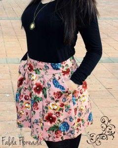 Faldas floreadas rosas 2014 6