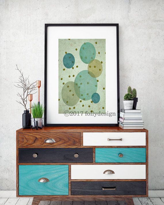 Artist Shanni Welsh's Mid Century Modern Planet Space art print. Retro Space poster.