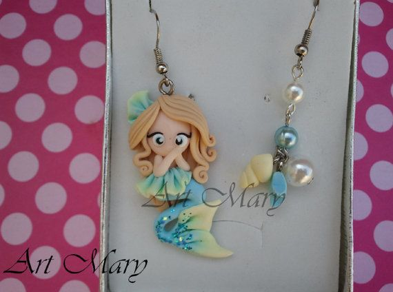 polymer clay mermaid | Mermaid Earrings fimo polymer clay