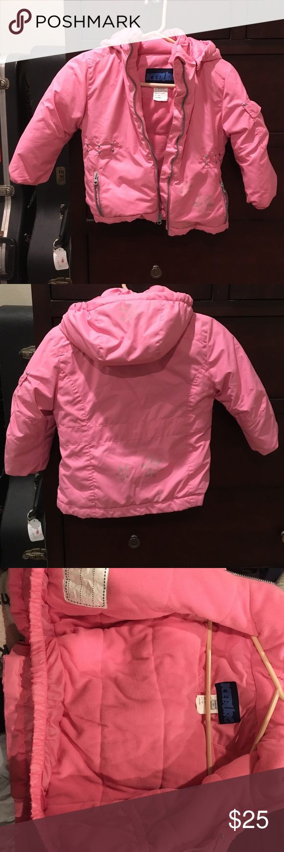 Pink Girls Snow Jacket 5T-5 Excellent condition girls snow jacket. Waterproof on outer and soft cozy fleece on inside. Size says 5T but my daughter wore when she was in a girls 5 and she is tall. Has removable hood, zipper pockets and inside elastic at waist. Measures 18 inches long. iceburg Jackets & Coats Puffers