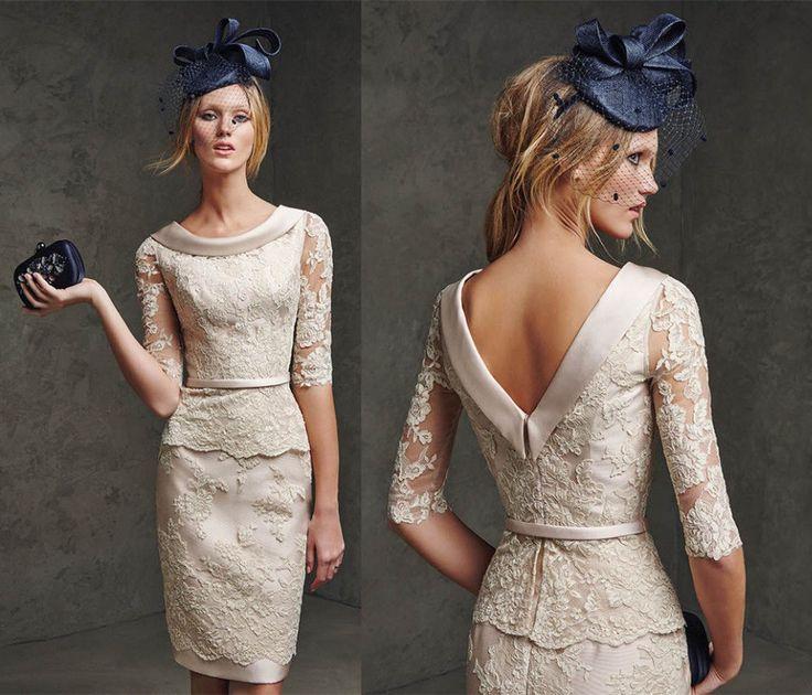 dentelle Backless courtes robes de soirée de mariage mère robes ...