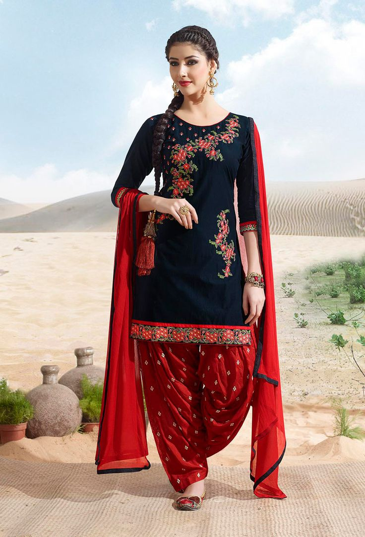#Black And #Red #Cotton #Patiala #Suit #nikvik  #usa #designer #australia #canada #freeshipping #readytoship #readytomove