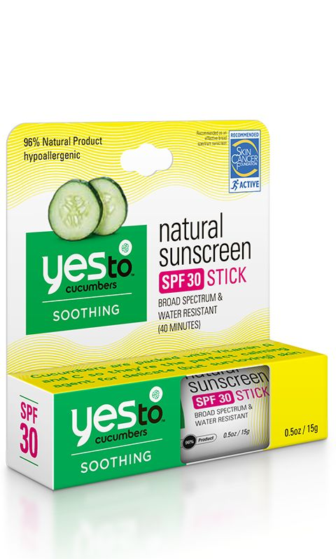 $8.99. Yes to Cucumbers Natural Sunscreen SPF 30 Stick provides broad spectrum protection and is water resistant (40 minutes).