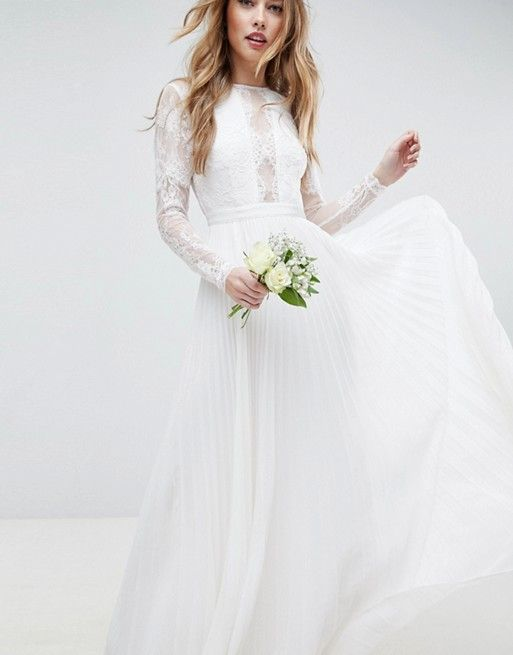 7e6791d195ea ASOS EDITION | ASOS EDITION Long Sleeve Lace Bodice Maxi Wedding Dress with  Pleated Skirt