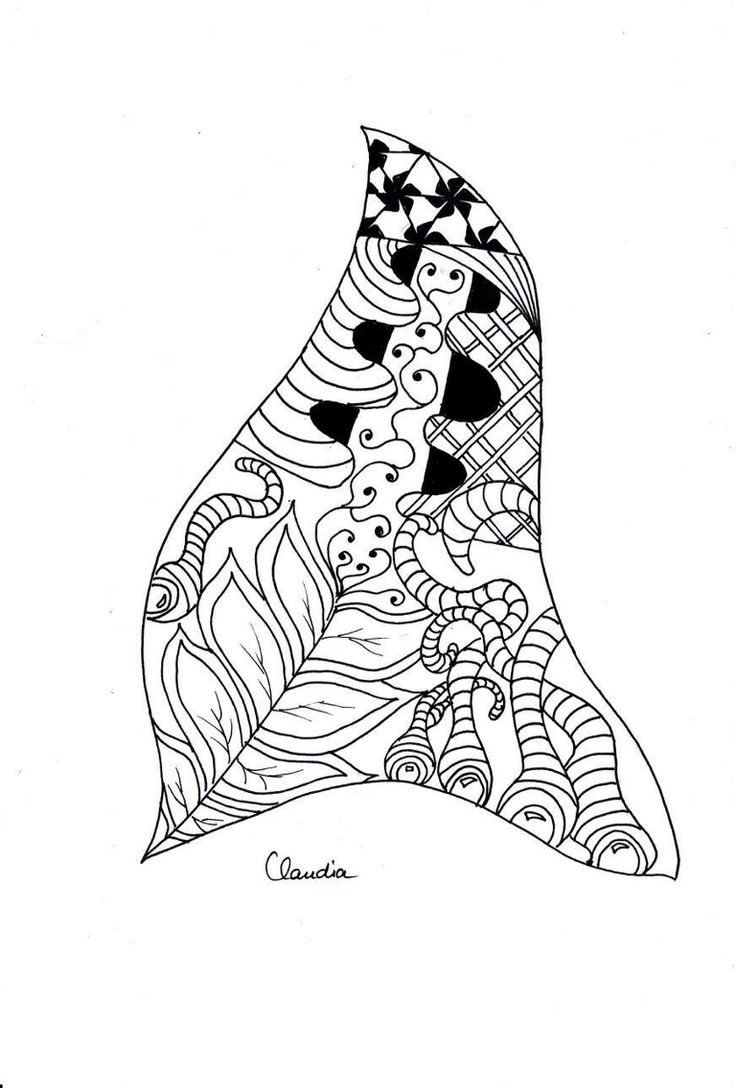 Free Coloring Page Simple Zentangle Drawing To Print Color