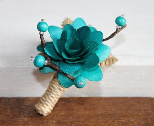Rustic Teal Wood flower Boutonniere