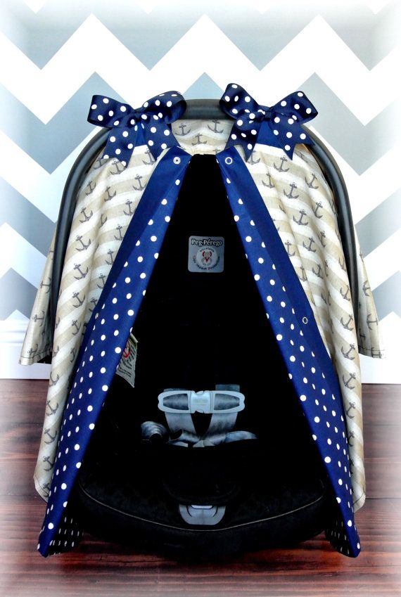 NAUTICAL car seat canopy car seat cover ANCHORS by JaydenandOlivia