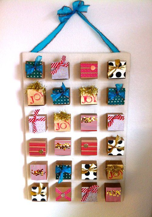 I don't love my advent calendar, so I'm doing this next year! I want numbers on mine though. How fun to have a gift everyday to open.  :)