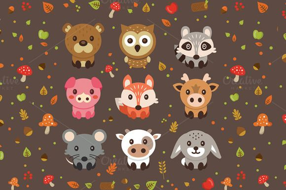 Woodland Cute Vector Pets Animals by Manudesign on @creativemarket