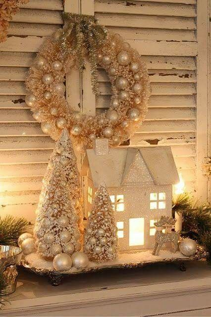 white silver and gold christmas decor