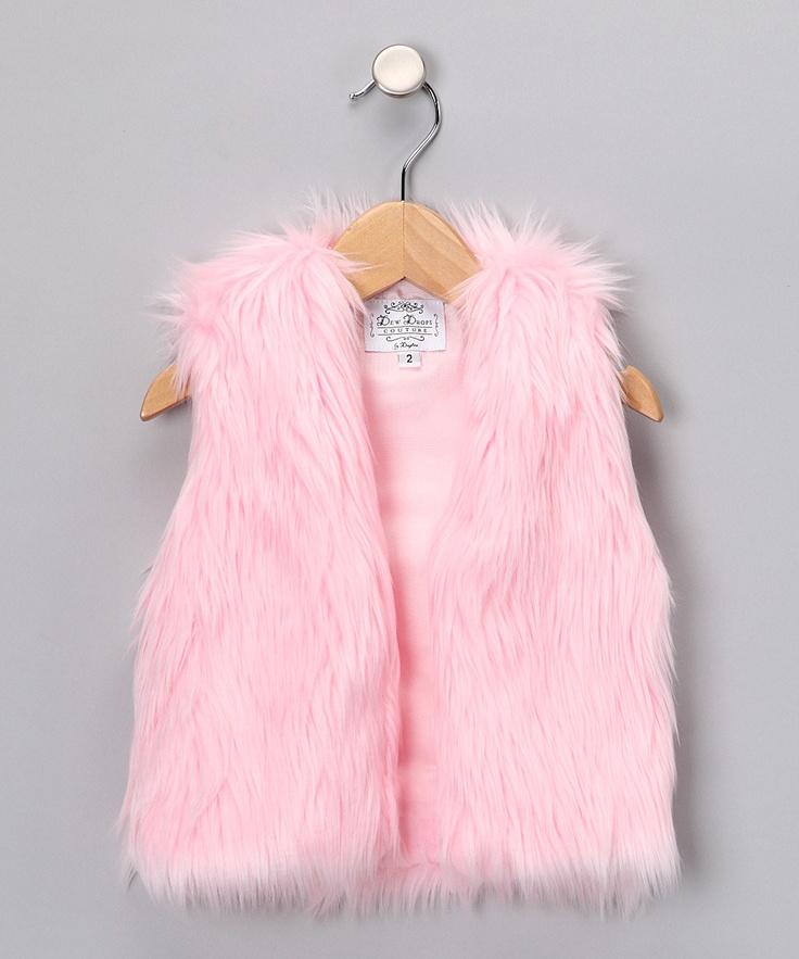 Dew Drops Couture Light Pink Faux Fur Vest Toddler