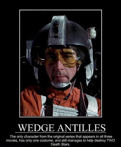 Wedge Antilles: terrible name, awesome character. The fact that George Lucas would name a badass character WEDGE should have been everyone's first clue that he could not be trusted not to turn everything ridiculous.