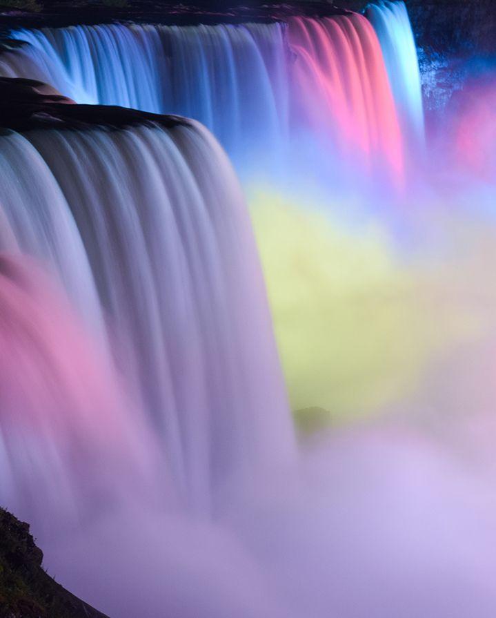 Niagara Falls aglow with colorful lights