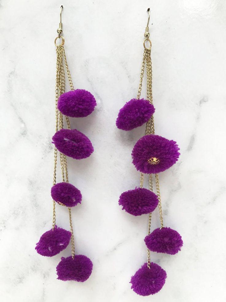 Purple Pompom Chain Earring