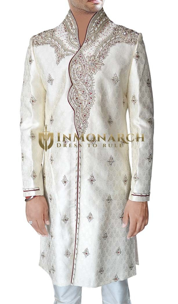Luxurious Cream Sherwani #Wedding #Sherwani #Inmonarch #Ethnic Wear #Inmonarch Wedding Wear #Indian Wedding Wear #Wedding Collection #Inmonarch Sherwani