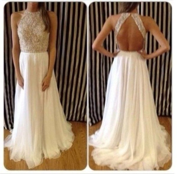 2014 New Arrival Sexy High Neck Beaded Top White Chiffon Prom Dresses Long Open Back For Special Occasion Dresses $175.00