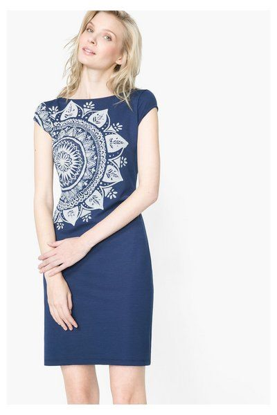 Desigual Navy blue open back pinafore dress. Discover women's fashion with attitude!