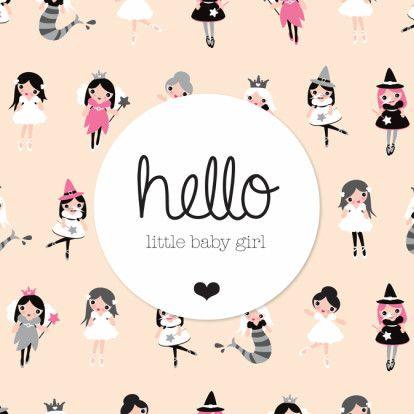 Hello little baby girl tekst in engels. Geboorte of baby shower uitnodiging voor meisje. Lief princes zeemeermin ballerina en fee illustratie kaartje.