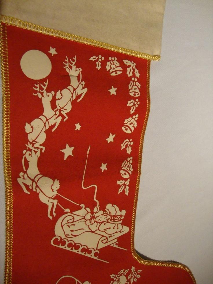 Vintage Felt Christmas Stocking Christmas Stocking