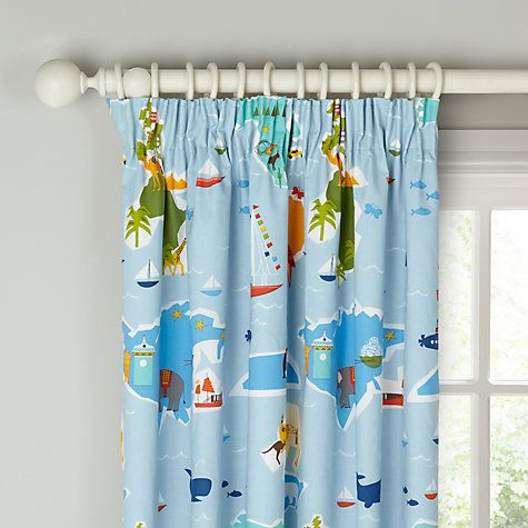 little home at John Lewis Globe Trotter Pencil Pleat Blackout Lined Curtains