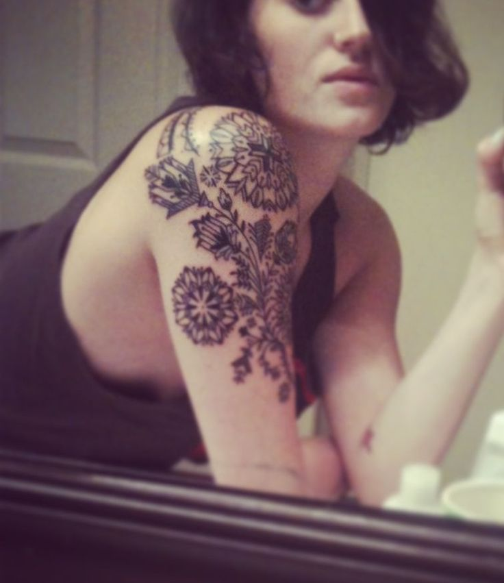 Stylized Flowers Tattoo by David Hale