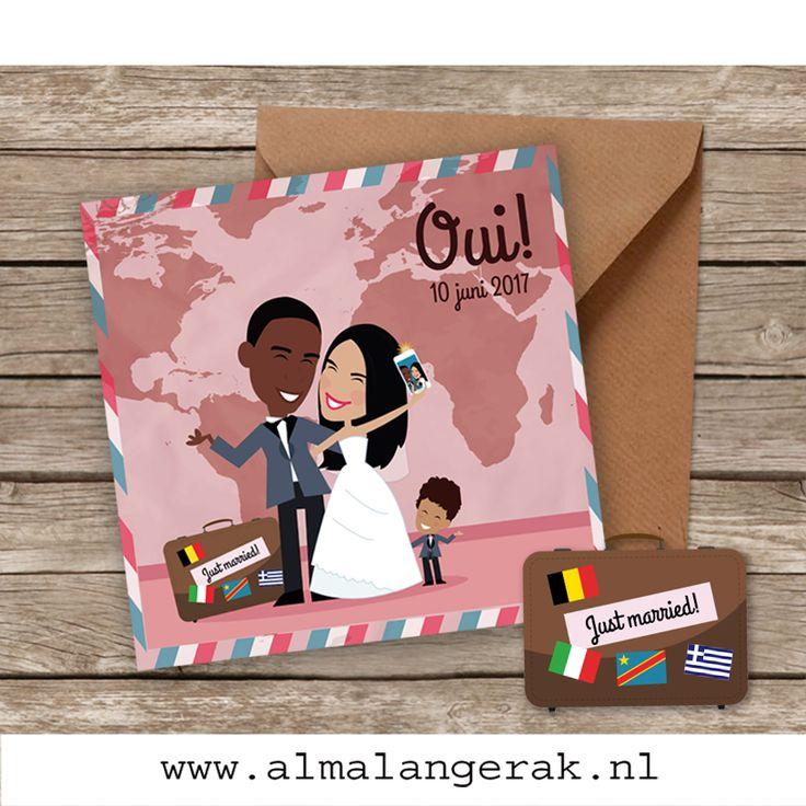 Angela is Grieks-Italiaans en Cedric is Congolees, dus voor dit internationale stel een wereldkaart op de achtergrond en een koffer met de vlaggen van België, Congo, Italië en Griekenland.  Angela en Cedric, veel plezier nog met alle voorbereidingen voor jullie feest en alvast een fantastische #trouwdag toegewenst  #verloofd #bruiloftinspiratie #bruiloft #vintage #travel #reizen #wereldkaart #trouwkaarten #cartoon  #koffer #belgie #congo #italie #griekenland #wereldbol #wereldstel