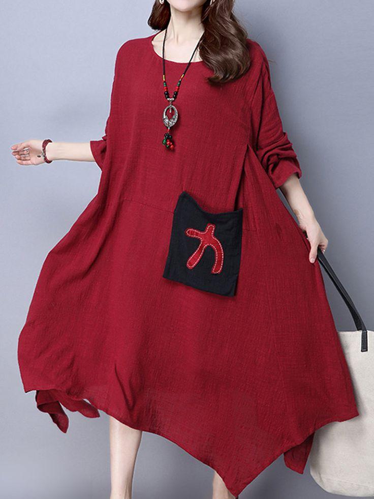 Ethnic Vintage Patchwork Irregular Hem Long Sleeve Dress For Women Shopping Online - NewChic