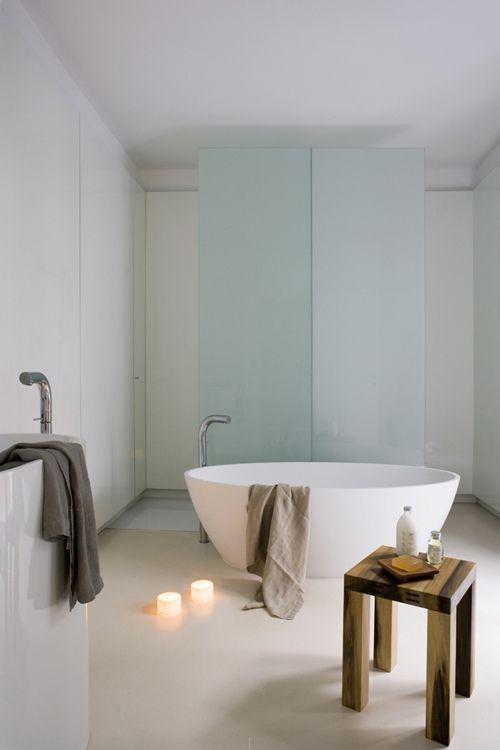 Shower enclosure, polished concrete floor
